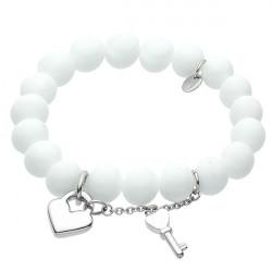 Biała bransoletka damska z marmuru, kluczyk i serduszko