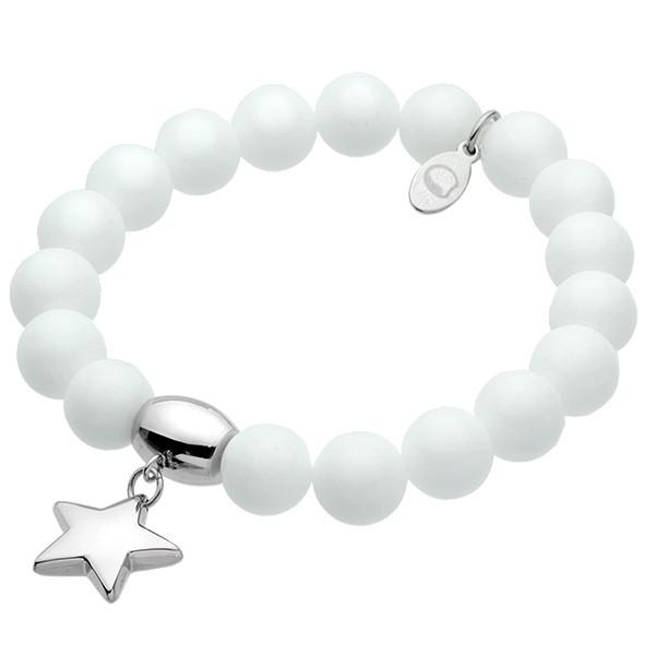 Biała bransoletka damska z marmuru z gwiazdką