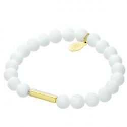 Biała bransoletka damska z naturalnego marmuru