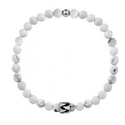 Biała bransoletka męska kamienie howlit z beadsem