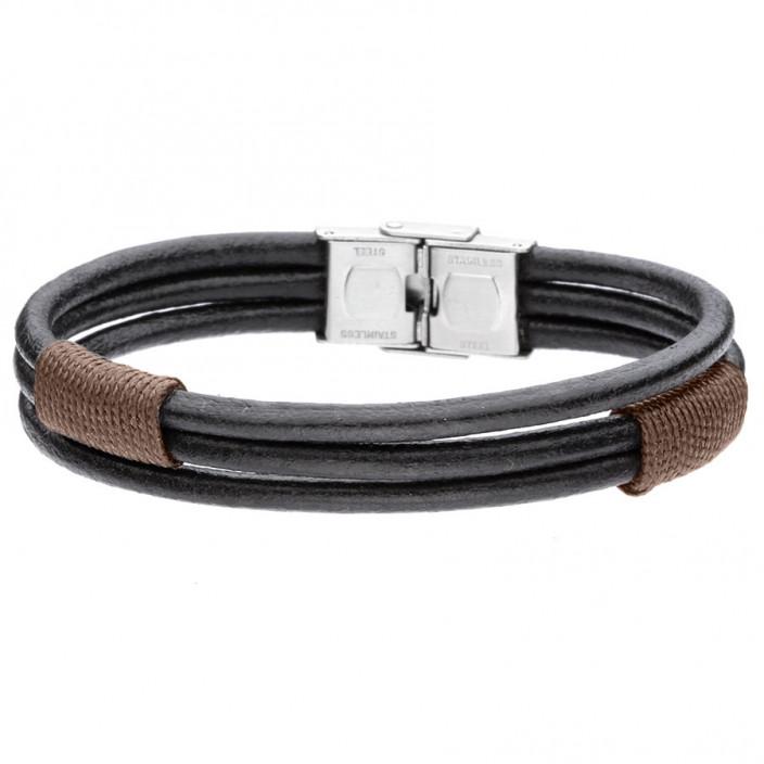 Boho leather męska, brązowa bransoletka z rzemienia