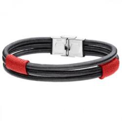 Boho leather męska, czerwona bransoletka z rzemienia