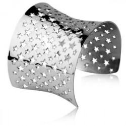 Bransoletka damska bangle, ażurowa w gwiazdki, kolor srebrny