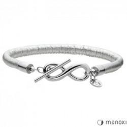 bransoletka damska skórzana ze znakiem nieskończoności, kolor srebrny