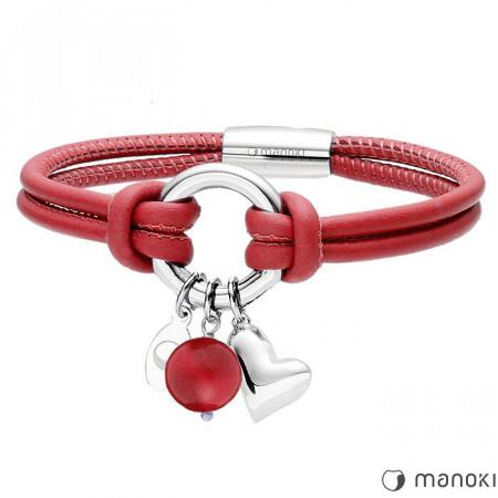 bransoletka damska z czerwonej skóry, symbol karmy, serduszko, jadeit