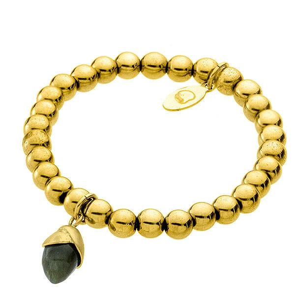 Bransoletka damska z żołędziem, kamienie naturalne, kolor złoty