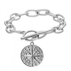 Bransoletka gruby łańcuch z kompasem różą wiatrów