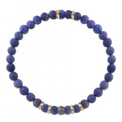 Bransoletka kulki niebieskie lapis lazuli i stal szlachetna
