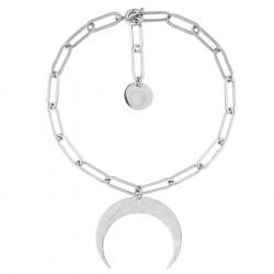 Bransoletka łańcuch srebrny księżyc ze stali szlachetnej