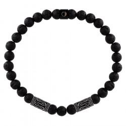 Bransoletka męska czarne kulki lawa z etno beadsami