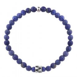 Bransoletka męska kamienie lapis lazuli lazuryt z beadsem