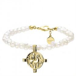 Bransoletka perły naturalne ze złotą monetą