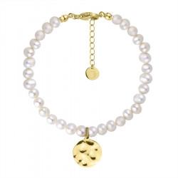 Bransoletka perły z pozłacanym medalionem monetą ze stali szlachetnej