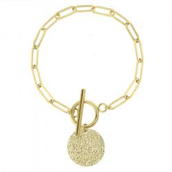 Bransoletka pozłacana łańcuch z medalionem zapięcie toggle