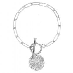 Bransoletka srebrna ze stali szlachetnej łańcuch z medalionem zapięcie toggle