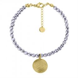 Bransoletka srebrny hematyt ze złotym medalionem