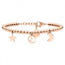 Bransoletka w kolorze różowego złota, księżyc i gwiazdy