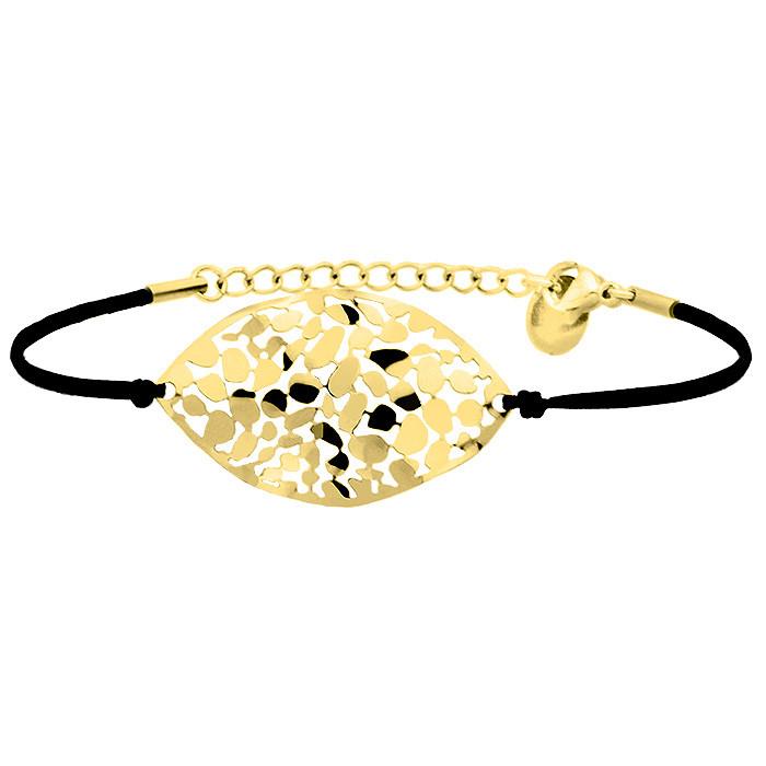 Bransoletka z czarnego  sznurka, złota, ażurowa ozdoba