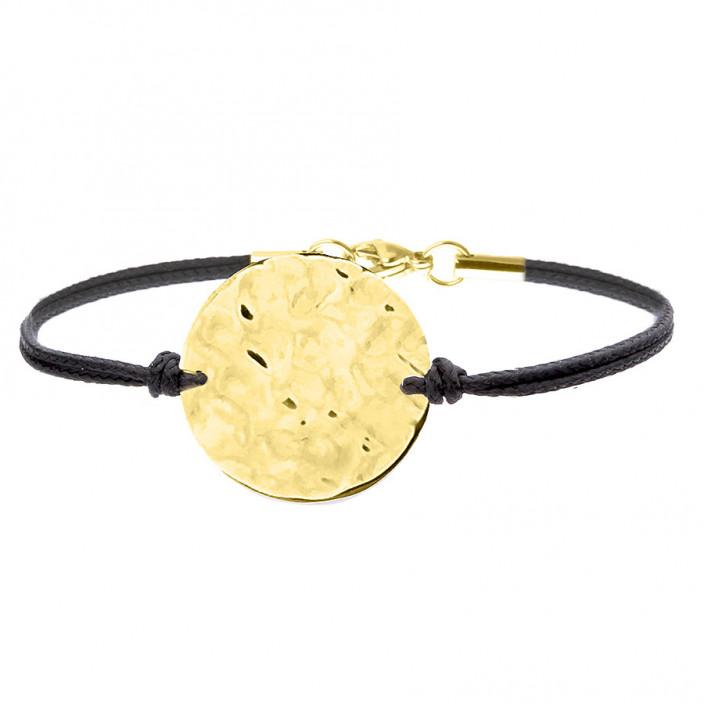 Bransoletka z młotkowanym medalionem kolor złoty