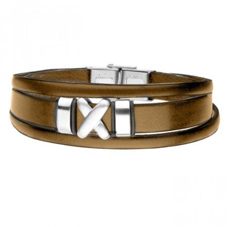 Brązowa bransoletka męska symbol X