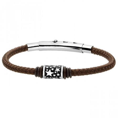 Brązowa bransoletka męska ze sznurka, beads z gwiazdkami