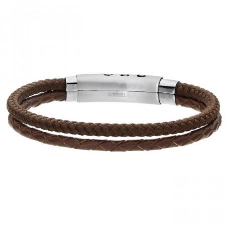 Brązowa bransoletka męska ze sznurka i rzemienia naturalnego