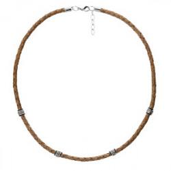 Brązowy naszyjnik męski rzemień, beads