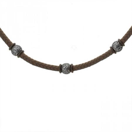 Brązowy naszyjnik męski w stylu etno z bawełnianego sznurka