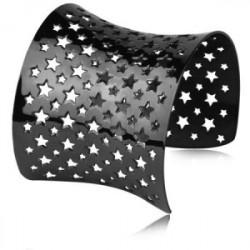Czarna bransoletka bangle, ażurowa w gwiazdki