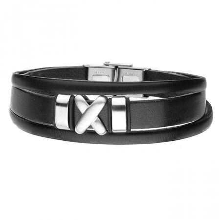 Czarna bransoletka męska symbol X