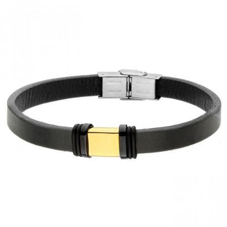 Czarna bransoletka ze złotym elementem