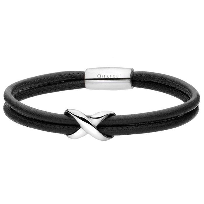 Czarna, skórzana bransoletka z symbolem nieskończoności