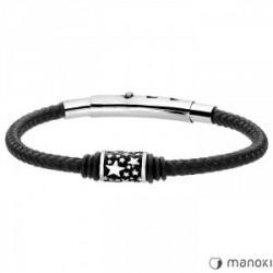 czarna, sznurkowa bransoletka męska, beads z gwiazdkami