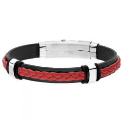 Czarno czerwona bransoletka męska ze skóry naturalnej ze stalowymi elementami
