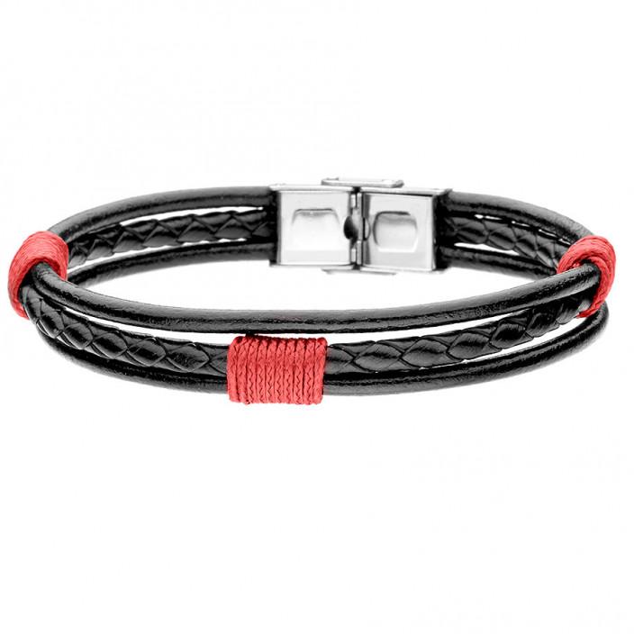 Czarno czerwona bransoletka z rzemienia