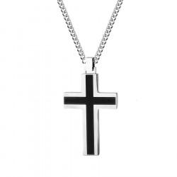 Czarno srebrny krzyżyk naszyjnik ze stali szlachetnej