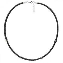 Czarny naszyjnik męski rzemień, beads