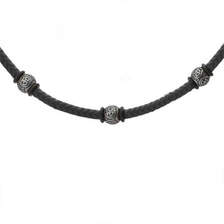Czarny naszyjnik męski w stylu etno z bawełnianego sznurka