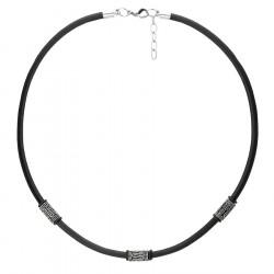 Czarny naszyjnik rzemień męski z etno beadsami