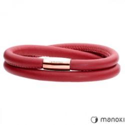 czerwona bransoletka damska skórzana