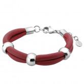 Czerwona bransoletka damska z naturalnej skóry, stalowe ozdoby