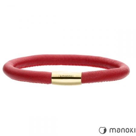 czerwona bransoletka damska ze skóry naturalnej