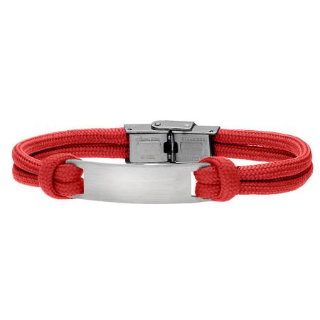 Czerwona bransoletka męska z blaszką pod grawer