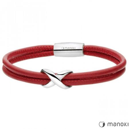 Czerwona bransoletka ze skóry, znak nieskończoności