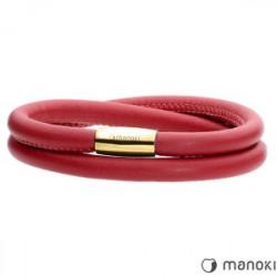 czerwona damska bransoletka ze skóry naturalnej