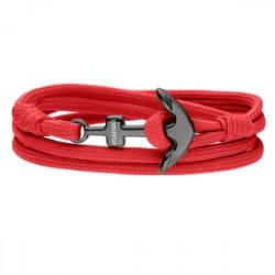 Czerwona męska bransoletka z kotwicą
