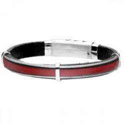 Czerwona skórzana bransoleta męska z linkami