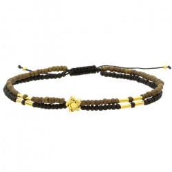 Damska bransoletka podwójna czarno-brązowa ze złotymi elementami