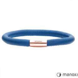 Damska bransoletka skórzana w kolorze niebieskim