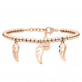 Damska bransoletka z piórkami, różowe złoto